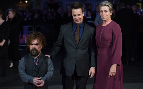 Peter Dinklage, Sam Rockwell and Frances McDormand at the UK premiere of the film Three Billboards Outside Ebbing, Missouri at the BFI London Film Festival in London on 15 October 2017. Picture: AFP.