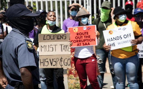 Members of the South African Cabin Crew Association (Sacca) and Numsa picket outside the SAA headquarters in Kempton Park on 12 October 2021. Picture: Xanderleigh Dookey Makhaza/Eyewitness News