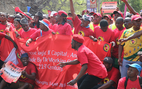 Striking NUMSA members march on Monday 9 September, they are seeking a double digit increase in wages. Picture:Vumani Mkhize/EWN