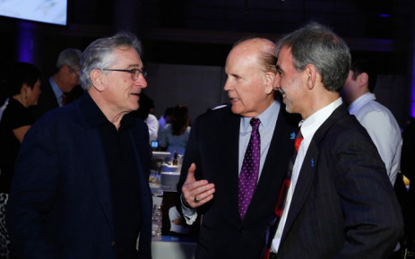 (L-R) Actor Robert De Niro, Founder of Autism Speaks, Bob Wright and Engineering Director at Google, David Glazer attend Autism Speaks Celebrity Chef Gala 2014 at Cipriani Wall Street on November 3, 2014 in New York City. Picture: AFP.