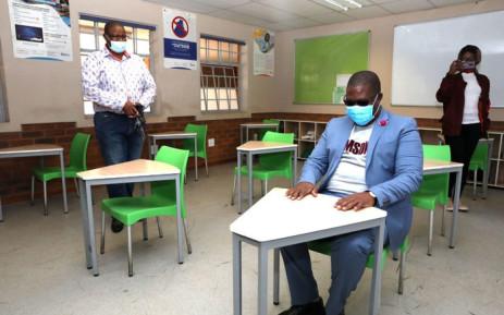Gauteng Education MEC Panyaza Lesufi inspects the Ga-Rankuwa Primary School, north of Pretoria on 26 May 2020. Picture: @Lesufi/Twitter