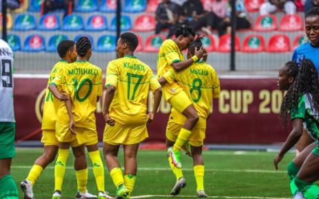 Banyana Banyana players celebrate their 4-2 victory over Nigeria in the Aisha Buhari Cup on 21 September 2021. Picture: @Banyana_Banyana/Twitter