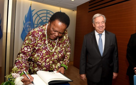 Dirco Minister Naledi Pandor at the UN headquarters in New York. Picture: @Dirco_ZA/Twitter