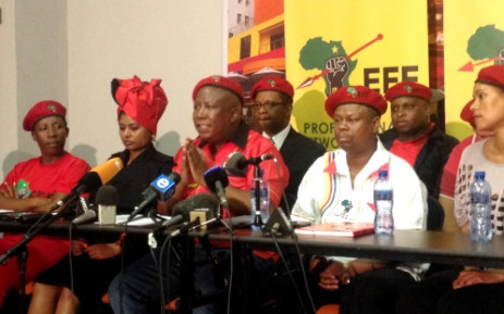 Julius Malema (C) surrounded by other senior EFF leaders at a media briefing in Braamfontein, Johannesburg, 9 January 2014. Picture: Govan Whittles/EWN.