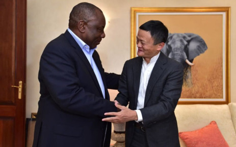 President Cyril Ramaphosa greets Chinese internet giant Jack Ma. Picture: @PresidencyZA/Twitter.