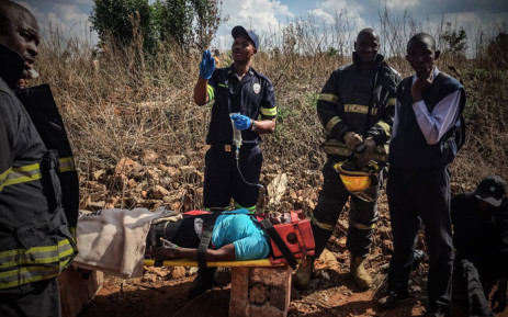 Emergency personnel attend to wounded after Tembisa train crash