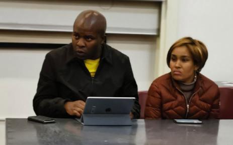 Gauteng Human Settlements MEC Lebogang Maile (left) and Gauteng infrastructure Development MEC Tasneem Motara (right) address Lenasia South community members on 21 July 2019. Picture: @GP_DHS/Twitter