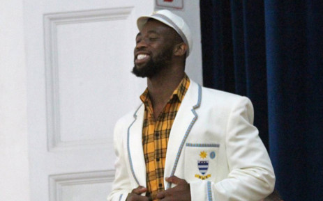 Siya Kolisi received an honours blazer from his alma mater Grey High School on Friday. Picture: @Greyhighsport/Twitter
