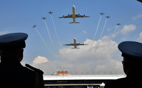 SAA Airbus and Air Force's Silver Falcons Aerobatics Display team. Picture: SANDF.