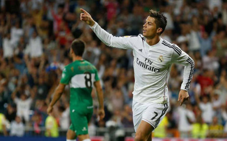 Cristiano Ronaldo celebrates his goal in the La Liga match against Elche on 23 September 2014. Picture: Real Madrid Offical Facebook page.