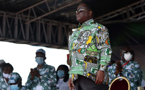 Former Ivory Coast president Henri Konan Bedie and current president of the Democratic Party of Cote d'Ivoire (PDCI) stands during his investiture as PDCI candidate in the 31 October 2020 presidential elections, at the place Jean-Paul II of Yamoussoukro on 12 September 2020. Picture: AFP