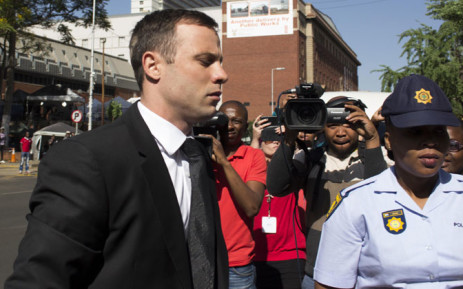 Oscar Pistorius arrives at the High Court in Pretoria ahead of his sentencing on 17 October 2014. Picture: Christa Eybers/EWN.