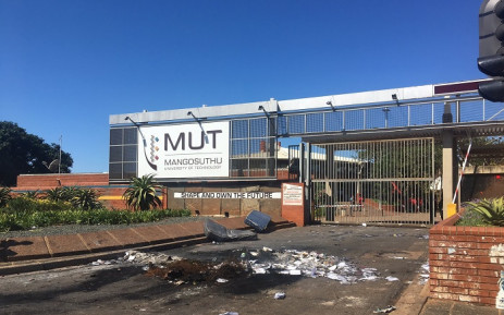 Students blocked the entrance to the Mangosuthu University of Technology during a protest led by the EFF Student Command over registration and funding on Thursday, 8 April 2021. Picture: Nkosikhona Duma/Eyewitness News.