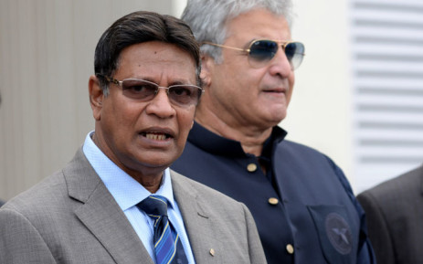 FILE: A high-level security delegation member of Sri Lanka Cricket (SLC) secretary Mohan De Silva (L) speaks to media with a Pakistan cricket official after visiting the Gaddafi Cricket Stadium to assess the possibility of staging two cricket test matches, in Lahore on 8 August 2019. Picture: AFP