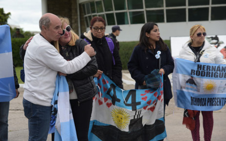 Relatives of crew members of the ARA San Juan submarine demonstrate outside the Navy Base in Mar del Plata, Buenos Aires province, Argentina, on 17 November 2018. Picture: AFP