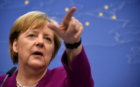 FILE: Germany's Chancellor Angela Merkel gestures as she addresses media representatives after a European Union (EU) summit at EU Commission Headquarters in Brussels on 28 May 2019.