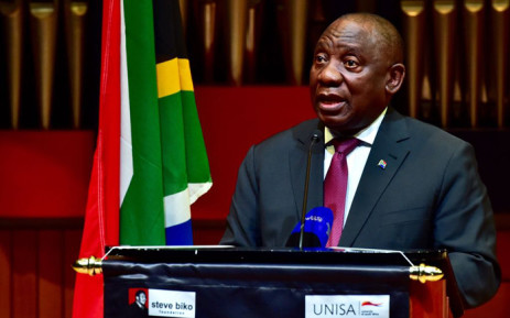 President Cyril Ramaphosa delivers the 19th Annual Steve Biko Memorial Lecture at the University of South Africa. Picture: @PresidencyZA/Twitter.