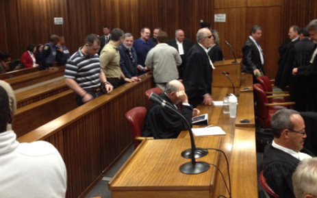 Boeremag accused and their lawyers in the North Gauteng High Court. Picture: Barry Bateman/EWN.