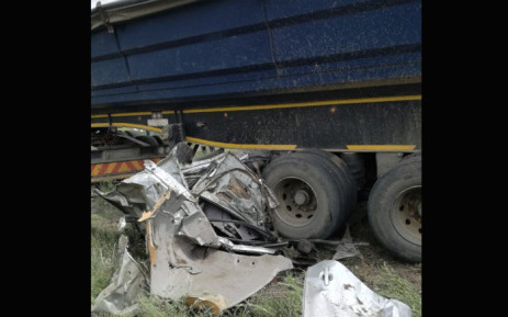 A truck and a car collided, leaving five people dead on the R547 between Kinross and Kriel in Mpumalanga on 29 November 2018. Picture: @_ArriveAlive/Twitter.