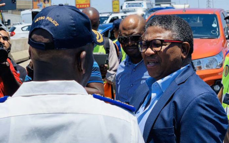 Transport Minister Fikile Mbalula on 2 December 2019 joined the JMPD as it launched its festive season safety campaign in Johannesburg. Picture: @MbalulaFikile/Twitter.