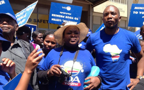 DA Parliamentary leader Mmusi Maimane joined hundreds of supporters outside the National Department of Transport in protest against e-tolls on 2 October 2014. Picture: Valeska Abreu/EWN.