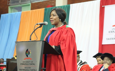 Thuli Madonsela receiving her honorary doctorate at the University of Kwa-Zulu Natal on Thursday, 12 September 2019. Picture: @UKZN/Twitter