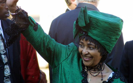 Winnie Madikizela-Mandela arrives at the Union Buildings in Pretoria 27 April 2004 for the inauguration of President Thabo Mbeki. Picture: AFP