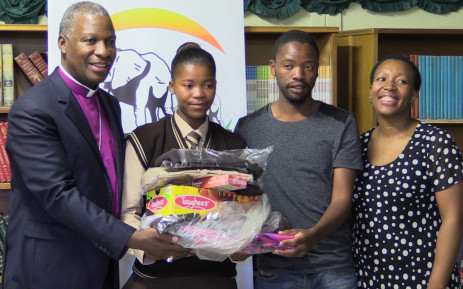 Archbishop Thabo Makgoba donating to his childhood school. Picture:Kgothatso Mogale