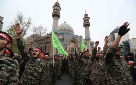 Iranian Revolutionary Guards take part in an anti-US rally to protest the killings during a US air stike of Iranian military commander Qasem Soleimani and Iraqi paramilitary chief Abu Mahdi al-Muhandis, in the capital Tehran on 4 January 2020. Picture: AFP.