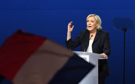 French presidential election candidate for the far-right Front National party Marine Le Pen gestures as she delivers a speech during a meeting at the Parc des Expositions in Villepinte, on 1 May, 2017. Picture: AFP.