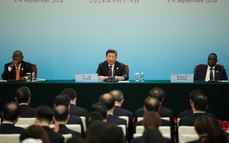 Chinese President Xi Jinping (C) with South African President Cyril Ramaphosa (L) and Senegalese President Macky Sall (R) attend a joint press conference during the Forum On China-Africa Cooperation at the Great Hall of the People in Beijing on 4 September 2018. Picture: AFP.