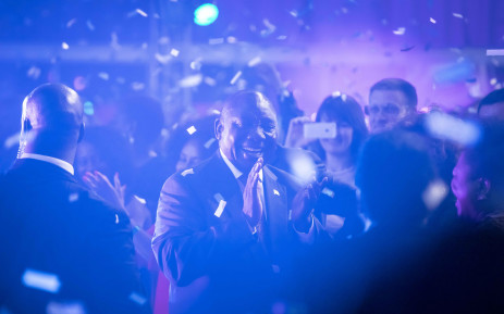 The newly elected president, Cyril Ramaphosa, celebrates under a shower of confetti after the election results were declared complete. Picture: Thomas Holder/EWN.