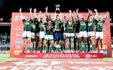 The Springbok Sevens team celebrate their victory in Dubai. Picture: @Blitzboks/Twitter