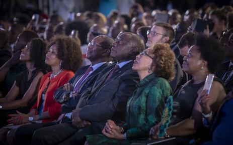 President Cyril Ramaphosa and his wife watch the results on the board above. Picture: Thomas Holder/EWN.