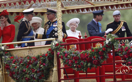 Britain's Royal Family take part in the Thames Diamond Jubilee Pageant on 4 June 2012. Picture: AFP