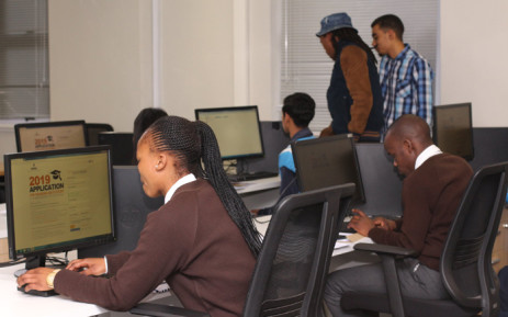 High school students fill in their NSFAS online funding applications. Picture: Supplied.