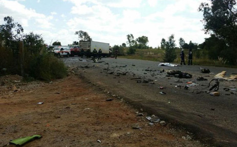 Randfontein Road in Randfontein was closed on Friday 29 April 2016 after a horror crash between a taxi and truck. 13 people were killed, one person has been resuscitated and another is in a critical condition. Picture: @_ArriveAlive via Twitter.