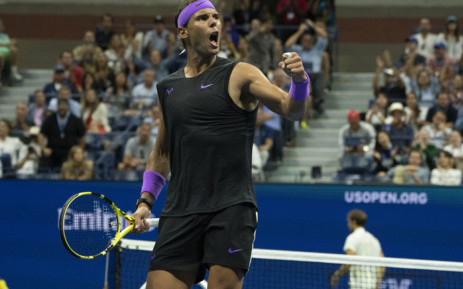 Rafael Nadal of Spain celebrates his win over Daniil Medvedev of Russia during their finals men's singles match at the 2019 US Open at the USTA Billie Jean King National Tennis Center in New York on 8 September 2019. Picture: AFP