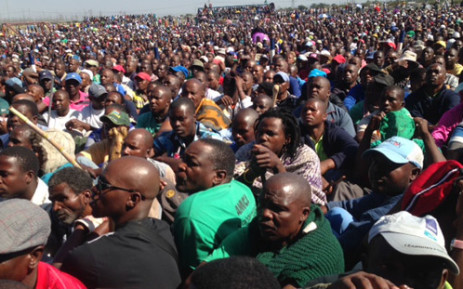 FILE: Thousands of miners in Marikana gathered at the stadium to be addressed by Amcu leaders on 14 May 2014. Picture: Vumani Mkhize/EWN.