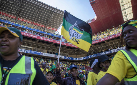 ANC supporters dance and sing at the Ellis Park Stadium in Johannesburg before speeches and dignitaries arrive. Picture: Thomas Holder/EWN.