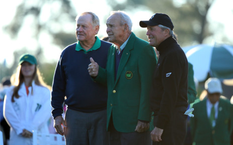 Honorary starters Jack Nicklaus, Arnold Palmer and Gary Player attend the ceremonial tee off to start the first round of the 2016 Masters Tournament at Augusta National Golf Club on April 7, 2016 in Augusta, Georgia. Picture: AFP.