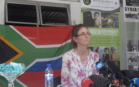 FILE: Pierre Korkie's wife, Yolande, attends a press conference in Johannesburg after being held captive in Yemen. Picture: Govan Whittles/EWN