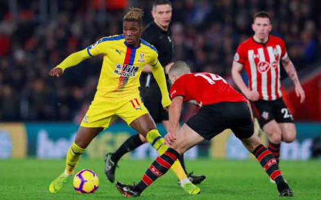 Crystal Palace forward Wilfried Zaha in action during his team's Premier League match against Southampton. Picture: @CPFC/Twitter.