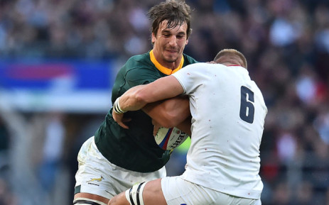 Springbok lock Eben Etzebeth (L) is tackled by England flanker Brad Shields (R) during the international rugby union test match between England and South Africa at Twickenham stadium in south-west London on 3 November 2018. Picture: AFP
