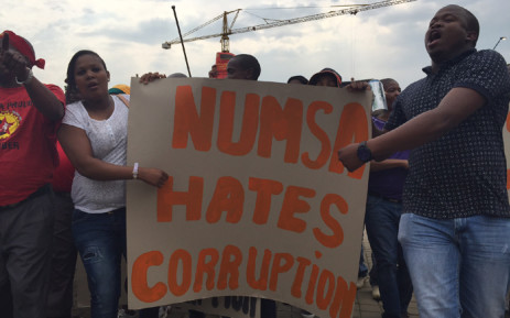 Hundreds of people have started gathering at Mary Fitzgerald square in central Johannesburg ahead of a march against corruption organised by Numsa on 14 October 2015. Picture: Reinart Toerien/EWN.