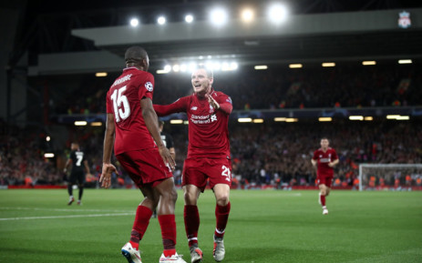 Liverpool's Daniel Sturridge and Andy Robertson celebrate a goal against Paris St Germain during a Champions League match. Picture: @LFC/Twitter.
