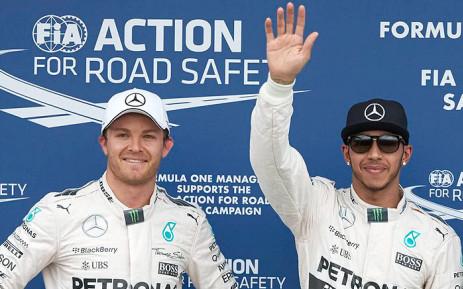 FILE: Mercedes team mates Nico Roseberg and Lewis Hamilton. Picture: @MercedesAMGF1.