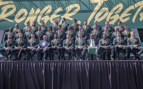 The Springboks at OR Tambo International Aiport on Friday, 30 August 2019 for their celebratory send off to Japan for the Rugby World Cup. Picture: Abigail Javier/EWN