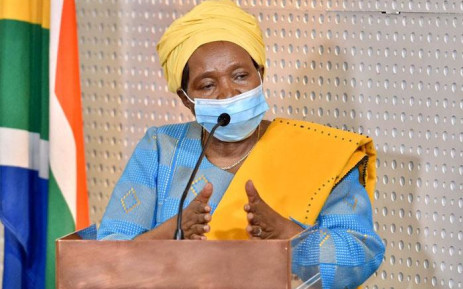 FILE: Minister of Cooperative Governance and Traditional Affairs Nkosazana Dlamini-Zuma updates South Africans on regulations pertaining to the COVID-19 lockdown. Picture: @GovernmentZA/Twitter