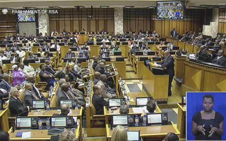 """""""A screen grab of President Jacob Zuma addressing parliament on 18 February 2016, during his reply to the State of the Nation debate."""